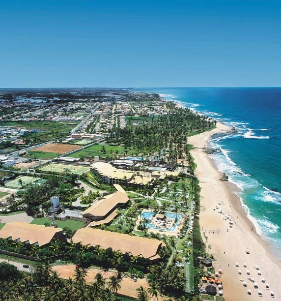 Vista aérea da Praia de Itapuã, que serviu de inspiração para canções de Caetano Veloso e Vinícius de Moraes