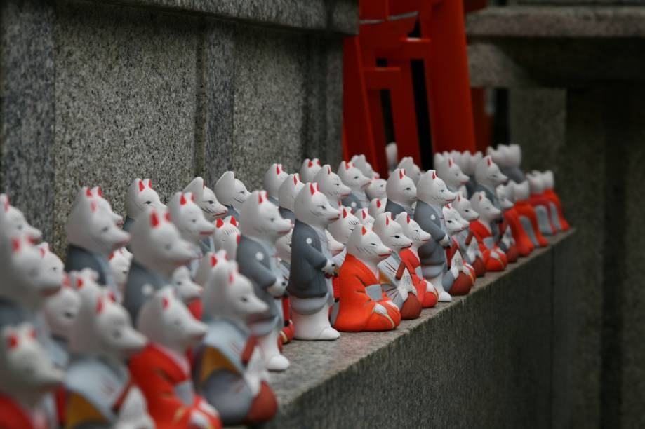 A raposa é um dos símbolos do santuário Fushimi Inari, em Kyoto