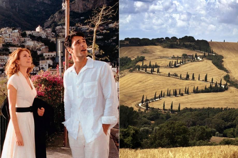 """<strong>Sob o Sol da Toscana (Toscana, <a href=""""http://viajeaqui.abril.com.br/paises/italia"""" rel=""""Itália"""">Itália</a>)</strong><br />      A Toscana é o refúgio da recém-separada escritora Frances (Diane Lane). Após ser traída pelo marido, ela busca no paraíso italiano se reerguer e, quem sabe, encontrar um novo amor. Entre as cidades da região está a capital, <a href=""""http://viajeaqui.abril.com.br/cidades/italia-florenca-firenze"""" rel=""""Florença"""">Florença</a>, na qual Frances aparece em uma cena na <strong>Cassa di Risparmio di Firenze</strong>"""