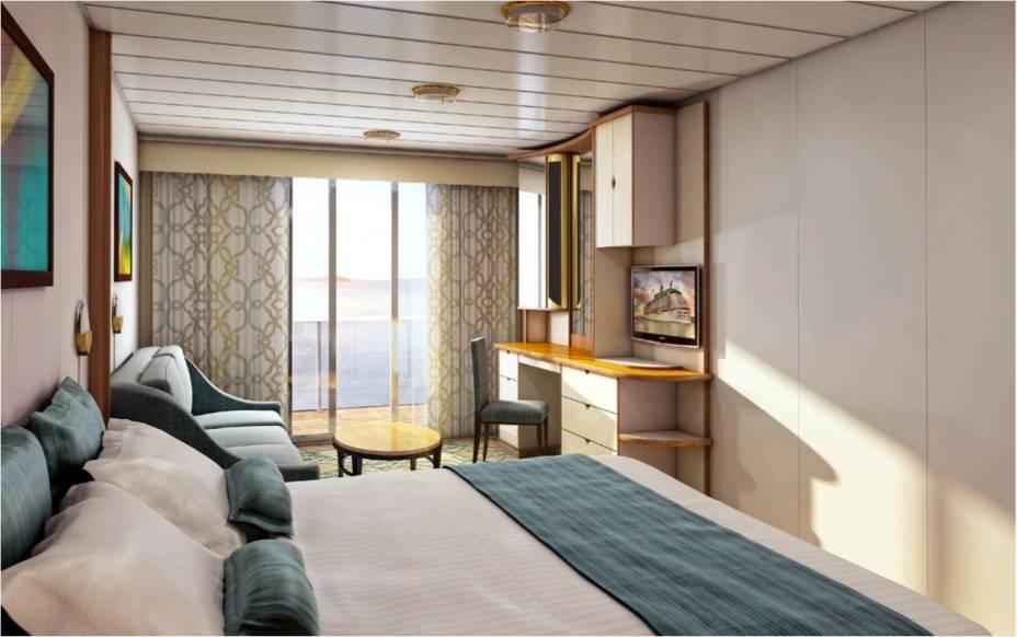 Suíte com decoração clássica e vista para o mar