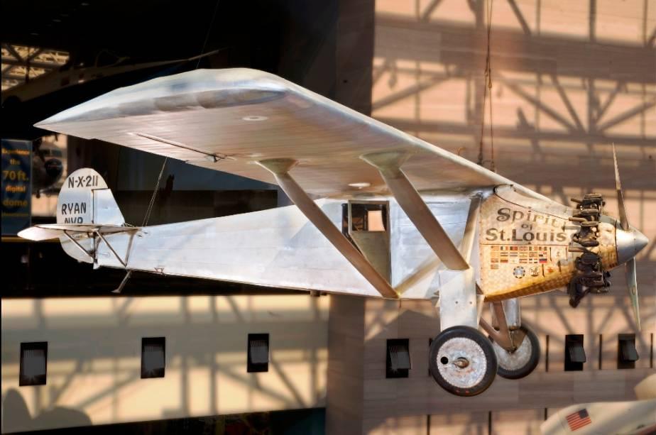 Spirit of St Louis, o avião em que Charles Lindbergh realizou a primeira travessia aérea transatlântica, em 1927, exposto em Washington DC
