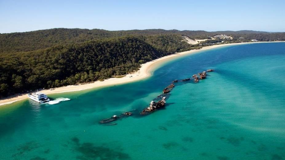 Vista aérea dos naufrágios em Tangalooma