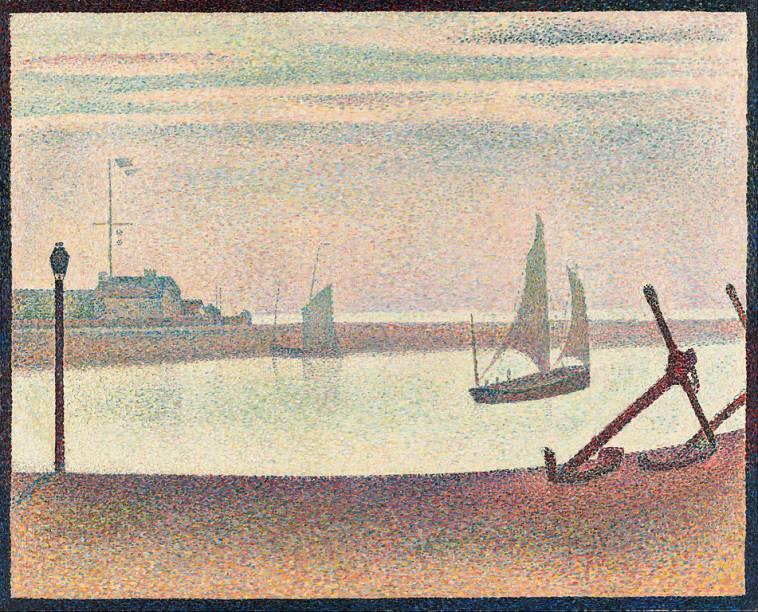 The Channel at Gravelines, Evening, de Georges Seurat, um dos maiores expoentes do pontilhismo