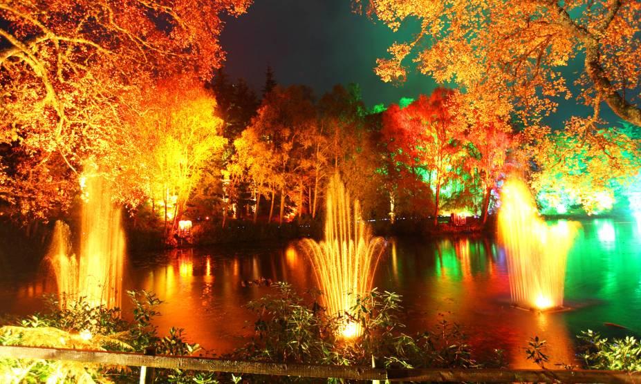 """A pequena cidade vitoriana de Pitlochry, na <a href=""""http://viajeaqui.abril.com.br/paises/escocia"""" rel=""""Escócia"""" target=""""_blank"""">Escócia</a>, ganha cores de contos de fada em outubro, com o evento <em>Enchanted Forest</em>: pontos de iluminação são instalados entre as árvores, e lendas nórdicas são contadas aos visitantes<a href=""""http://viajeaqui.abril.com.br/materias/florestas-encantadas-pelo-mundo#36"""" rel=""""LEIA MAIS"""" target=""""_blank""""><strong>LEIA MAIS</strong></a>"""