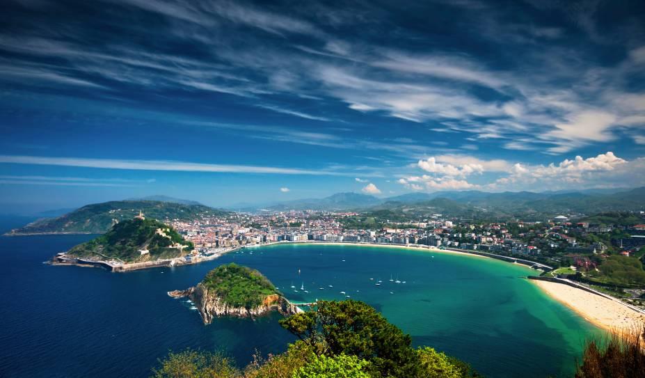 Vista aérea de San Sebastián e da Playa de La Concha