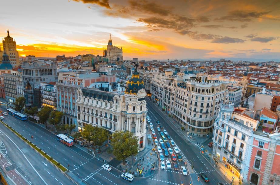 Vista aérea da Gran Vía, em Madri
