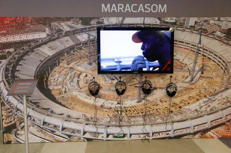 Entre os espaços interativos, está o Maracasom, que reproduz sons da construção do estádio e das torcidas