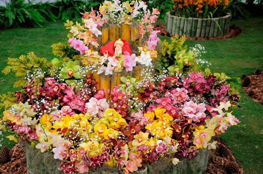 Arranjo floral na Expo Aflord, em Arujá