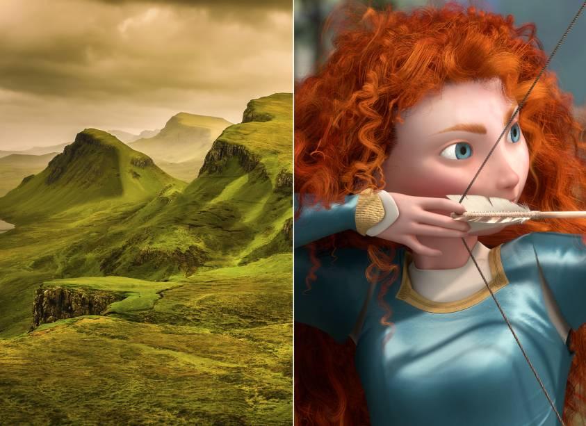 """<strong><a href=""""http://viajeaqui.abril.com.br/cidades/reino-unido-highlands"""" rel=""""Highlands"""" target=""""_blank"""">Highlands</a>, <a href=""""http://viajeaqui.abril.com.br/paises/escocia"""" rel=""""Escócia"""" target=""""_self"""">Escócia</a> (<em>Valente</em>)</strong>Quem disse que toda princesa precisa se casar e viver feliz para sempre? Merida, com sua cabeleira ruiva despenteada, prova que a vida não tem nada disso. E é claro: cavalgar e jogar arco e flecha é muito mais legal! O filme, ambientando nos belos cenários naturais escoceses, aborda a relação amorosa e, por vezes, conturbada entre mãe e filha. Para tentar convencer a Rainha de que não precisa de um marido, ela acaba transformando-a acidentalmente em um urso - o mais elegante do Reino, é claro<em><a href=""""http://www.booking.com/city/gb/inverness.pt-br.html?aid=332455&label=viagemabril-destinos-inspiradores-dos-estudios-disney"""" rel=""""Veja preços de hotéis próximos às Terras Altas no Booking.com"""" target=""""_blank"""">Veja preços de hotéis próximos às Highlands no Booking.com</a></em>"""
