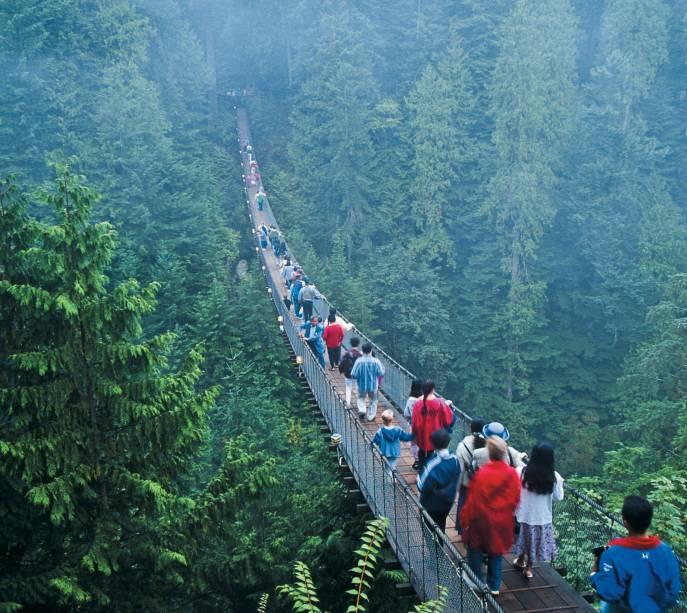 A vertiginosa Capilano Bridge, a mais longa ponte suspensa para pedestre do mundo