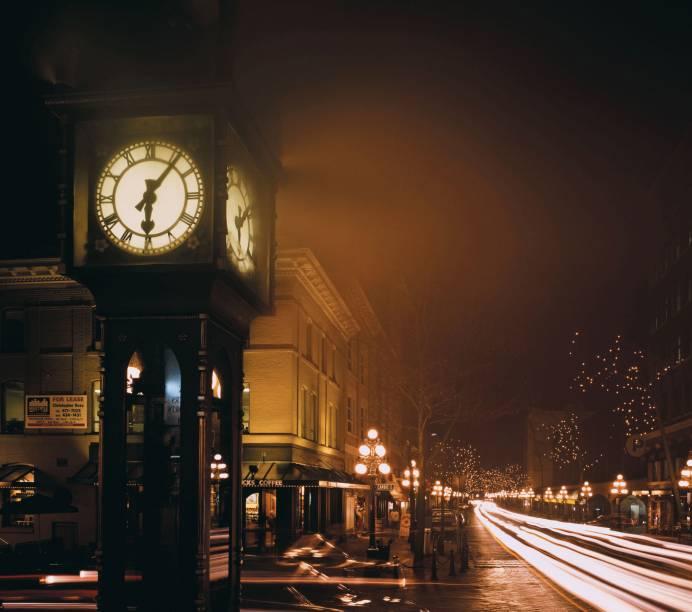O Steam Clock, grande atração da área mais antiga de VancouverO