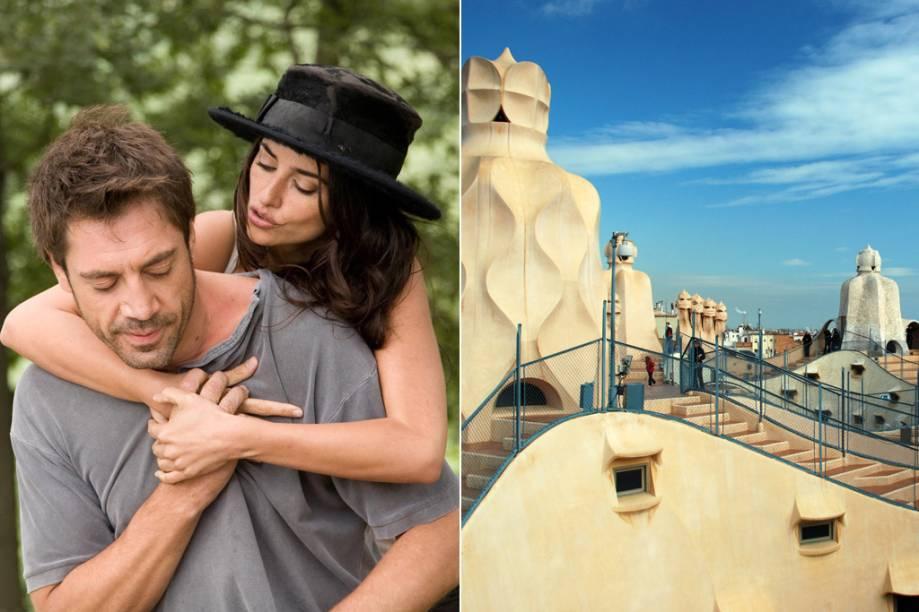 """<strong>Vicky Cristina Barcelona <a href=""""http://viajeaqui.abril.com.br/cidades/espanha-barcelona"""" rel=""""(Barcelona, Espanha)"""">(Barcelona, Espanha)</a></strong><br />      Barcelona não está no título do filme por acaso. A capital da Catalunha é o destino das férias de verão das duas amigas Vicky (Rebecca Hall) e Cristina (Scarlett Johansson), que fazem um tour pela cidade, apreciam obras de Antoni Gaudí (na foto, o topo de La Pedrera ou <strong><a href=""""http://viajeaqui.abril.com.br/estabelecimentos/espanha-barcelona-atracao-casa-mila-la-pedrera"""" rel=""""Casa Milà"""">Casa Milà</a></strong>) e se apaixonam pelo pintor Juan Antonio (Javier Bardem). A excêntrica ex-mulher do conquistador, a artista Maria Elena (Penélope Cruz, na foto), completa a trama escrita e dirigida por Woody Allen, em que a arte não é apenas cenário, mas também personagem"""