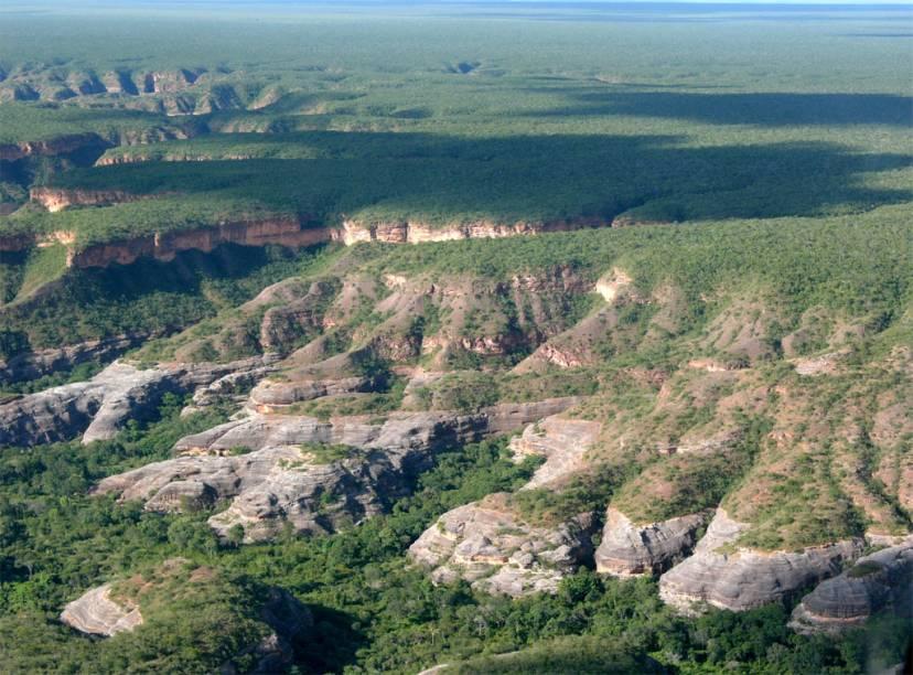 Vista aérea do Parque Nacional da Serra da Capivara, no Piauí