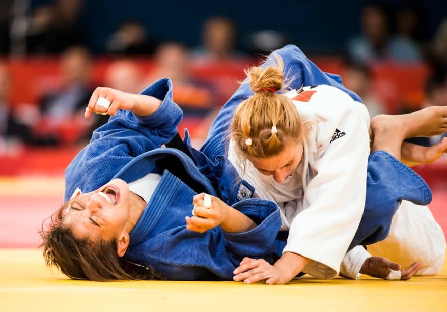 A judoca brasileira Sarah Menezes, após a vitória na final olímpica