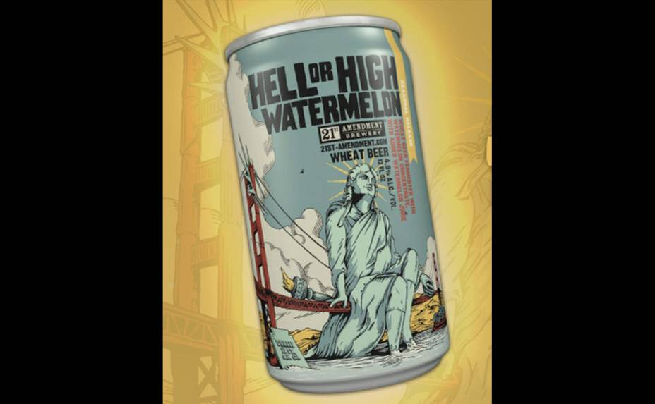 """A americana <strong>Hell or High Watermelon Wheat Beer</strong>, que contém suco de melancia, se apresenta como uma cerveja sem fronteiras: """"nem um obstáculo é suficiente, nenhuma fruta é impossível"""", dizem. O teor alcoólico é de 4,9%"""