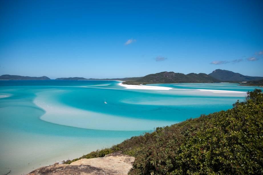 <strong>Whitehaven, Austrália</strong>Esta praia espetacular fica na ilha de Whitsunday, no noroeste da Austrália