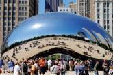 Cloud Gate, escultura do artista Anish Kapoor,em Chicago, Estados Unidos