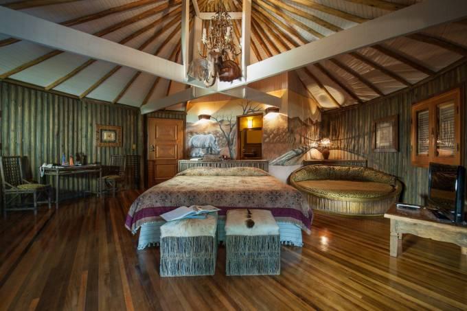 Acomodação com motivos asiáticos do Paraíso Eco Lodge