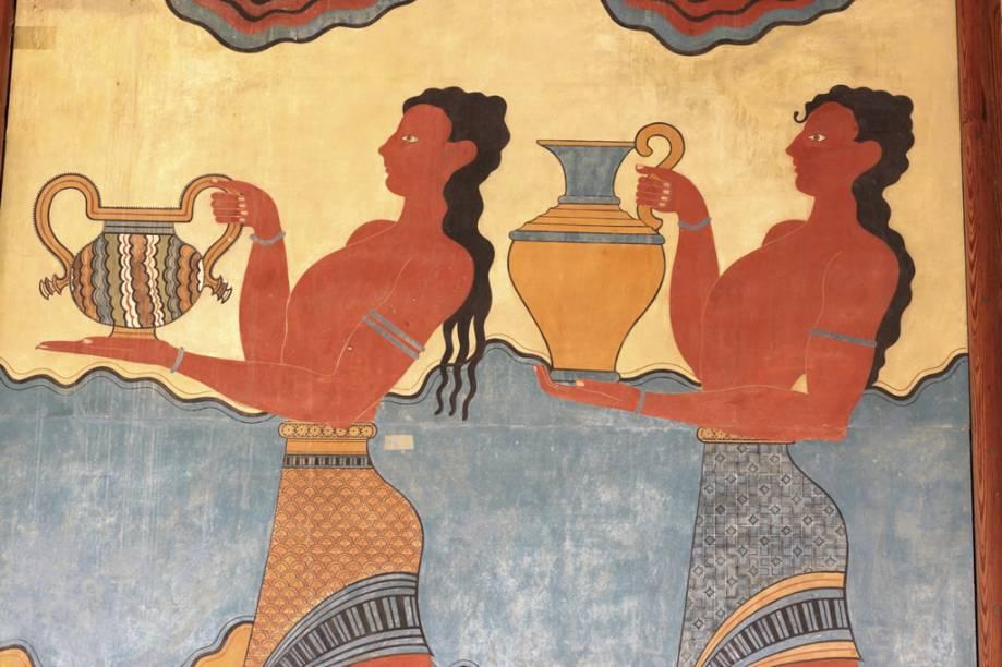 Pinturas no Palácio de Cnossos, em Creta