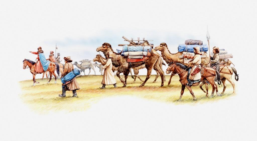 Terra à vista! Na ilustração, Marco Polo em sua caravana, com camelos e cavalos