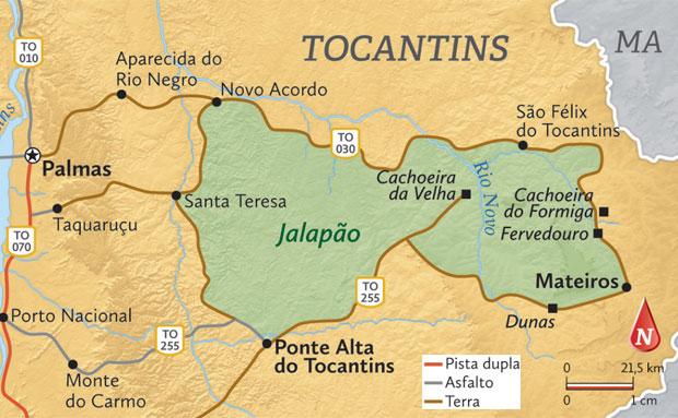 Mapa do Jalapão, com as atrações principais apontadas - todas elas ficam ao redor da área do Parque Estadual, que é de preservação