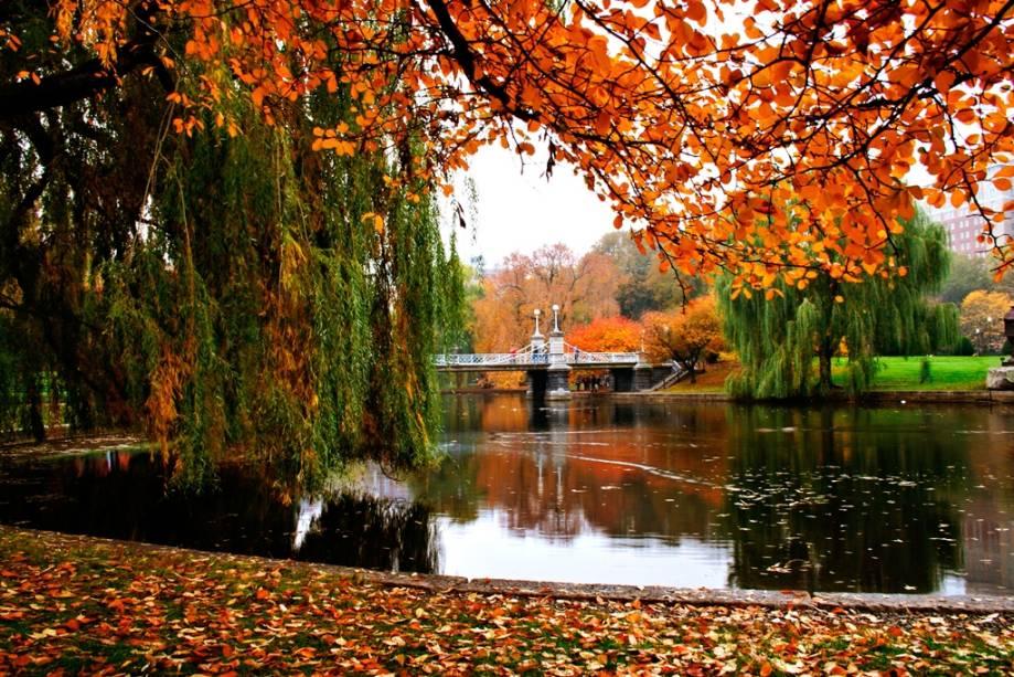 Paisagem outonal do Boston Public Garden. Com projeto datado de 1837, ele se localiza no coração da cidade e está entre os passeios favoritos dos moradores da cidade, com seu clima arejado e diversas espécies de árvores, flores e plantas