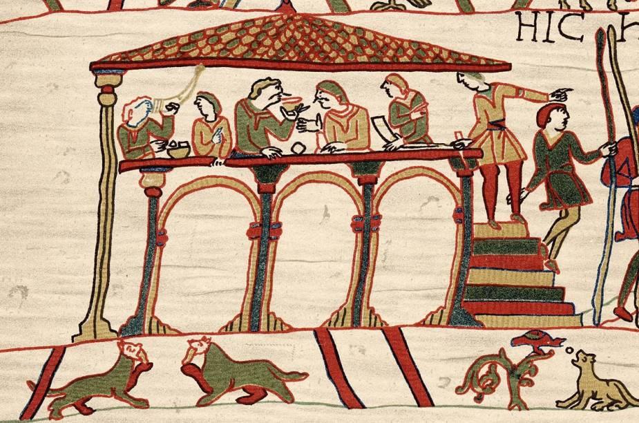 Detalhe da tapeçaria típica da cidade