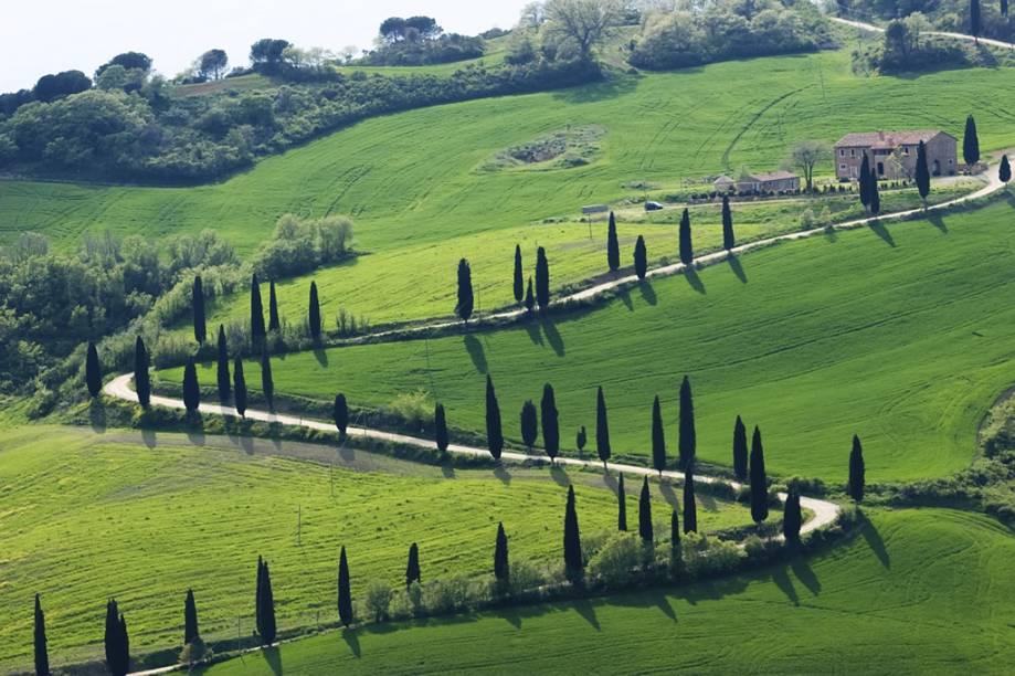 Típica paisagem rural da Toscana, com ciprestes e casas de tijolo