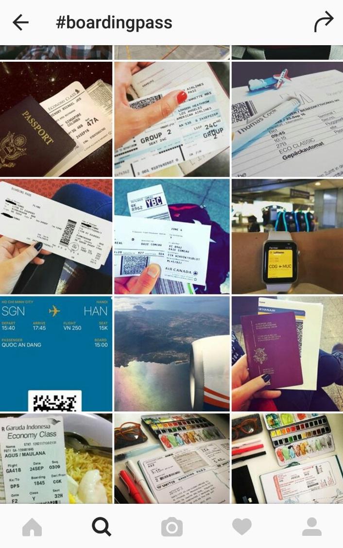 Basta usar a hashtag #boardingpass para ver fotos de cartões de embarque pelo mundo afora; pela data e hora dá para saber até se a pessoa está no aeroporto naquele momento