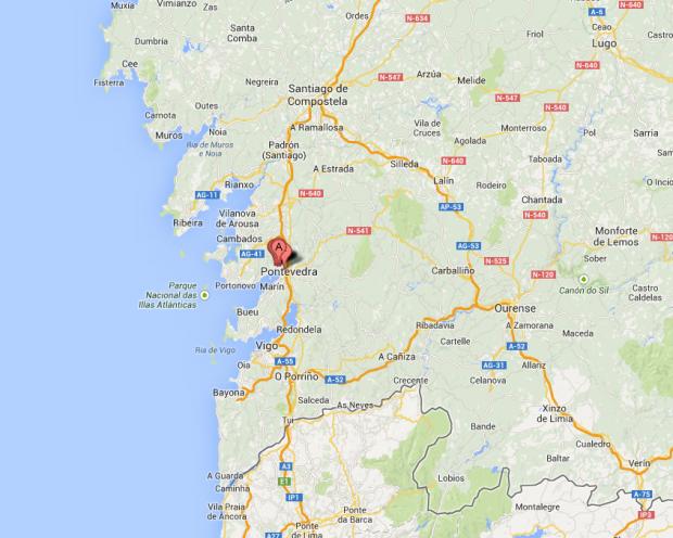 O mapa da região das Rias Baixas (ao sul de Santiago de Compostela): as marcas indicam a localização aproximada do hotel