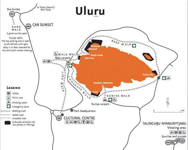 O mapa das caminhadas mais pop de Uluru