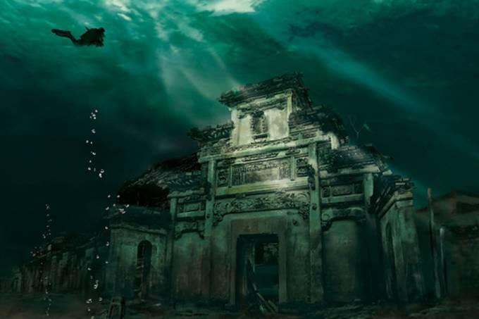 Cidade de Shi Cheng, no lago Qiao Dao, na China