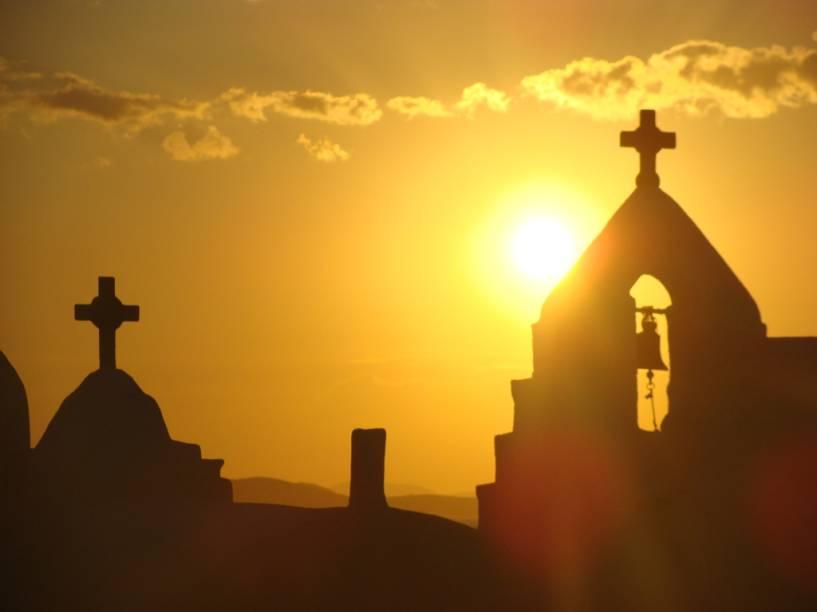 Pôr do sol em Mykonos, Grécia