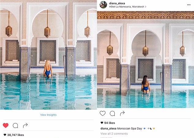 Saindo de uma piscina de spa no Marrocos: muita energia (e muito dinheiro) gastos para copiar o casal de instagrammers
