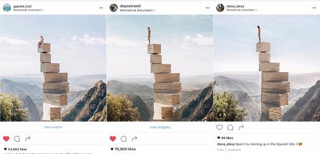 Na foto da esquerda, a blogueira copia a mesma pose do casal - cada um publicou uma foto diferente em seus perfis