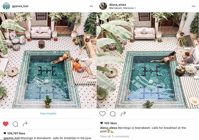 O clique da piscina em hotel de luxo do Marrocos tem algumas variações, mas não podemos dizer que a blogueira da direita foi original