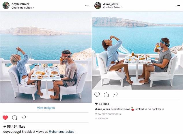 Café-da-manhã com direito a pose forçada em Santorini
