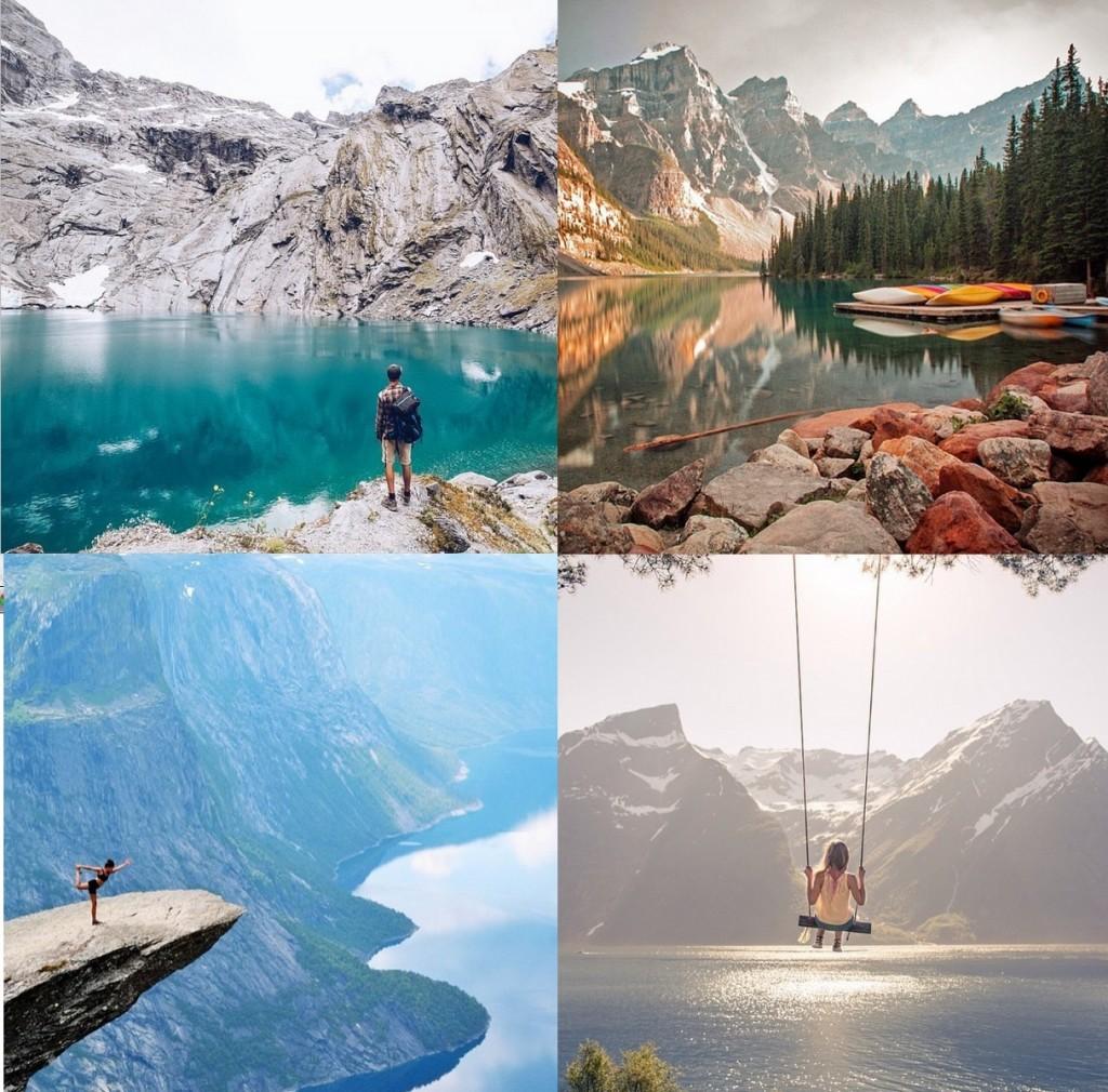 Fotos fantásticas de paisagens únicas pelo mundo. De vez em quando é SÓ a vista panorâmica de um desfiladeiro, mas também espere ver pessoinhas na beira de um penhasco com o fundo de um lago azul-azul, por exemplo