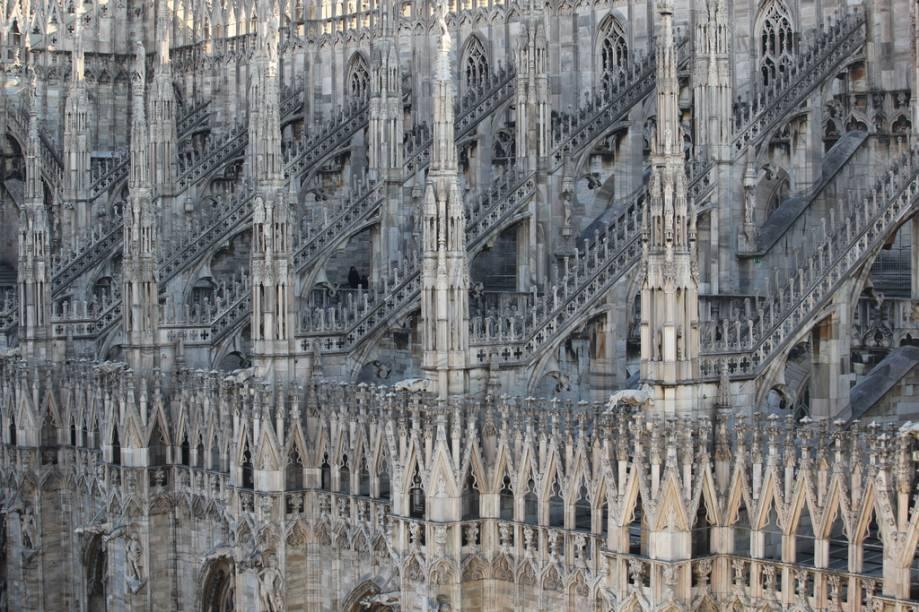 Detalhes dos arcobotantes do Duomo de Milão