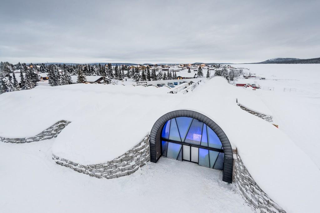 Fachada do Icehotel no inverno (Foto: Reprodução/Icehotel)