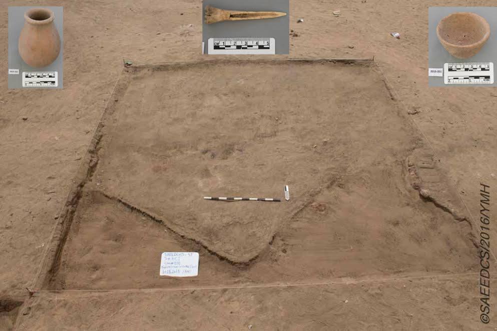 Área onde utensílios de cerâmica foram encontrados (foto: Ministry of Antiquities/Facebook)