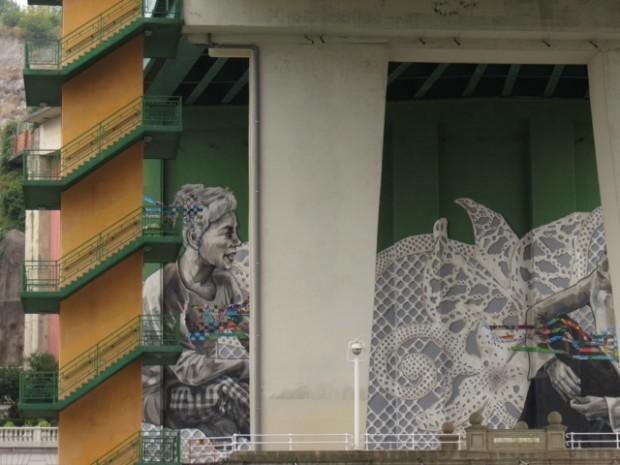 Grafite maravilhoso sob uma ponte do Nervión: além do Guggenheim