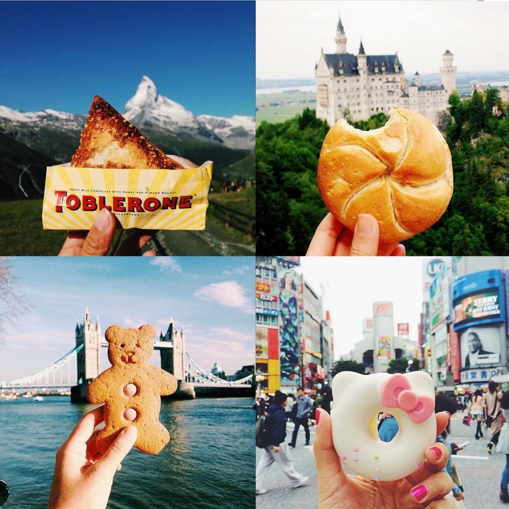Foodaholics viajantes não irão se aguentar com este perfil: a autora fotografa e reposta imagens de comida em frente aos principais pontos turísticos do mundo. Use #girleatworld!