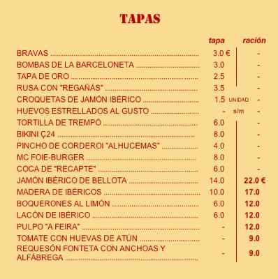 O menu do Tapaç 24
