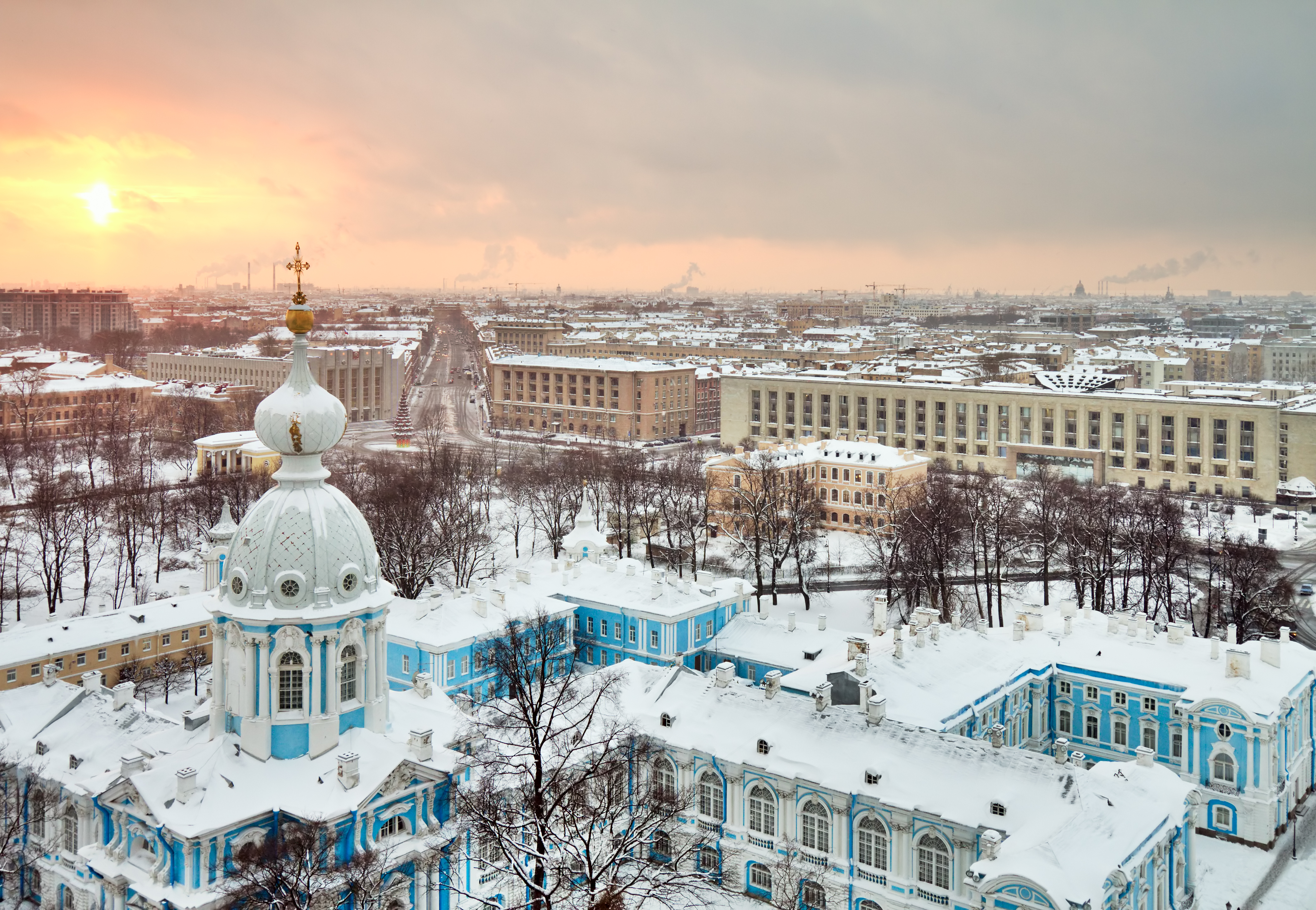 Inverno paisagem urbana de São Petersburgo, Rússia