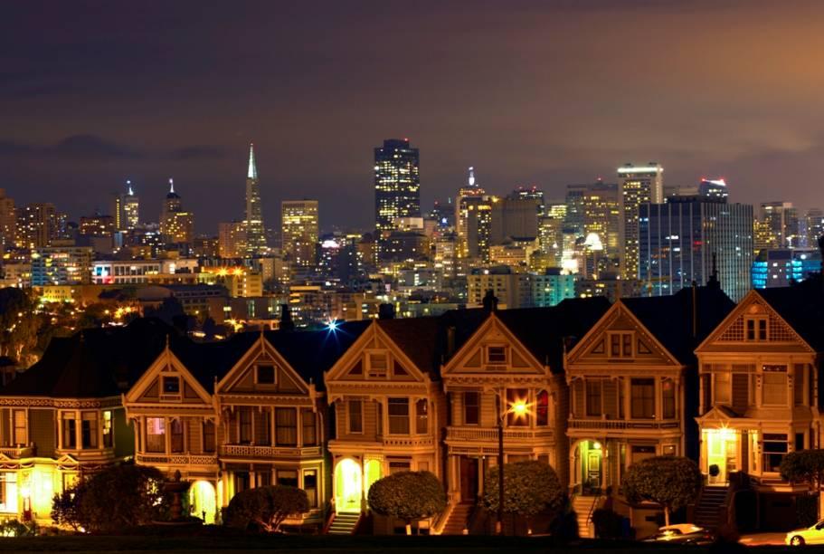 As casas de estilo vitoriano de Alamo Square são uma das vistas mais agradáveis de San Francisco