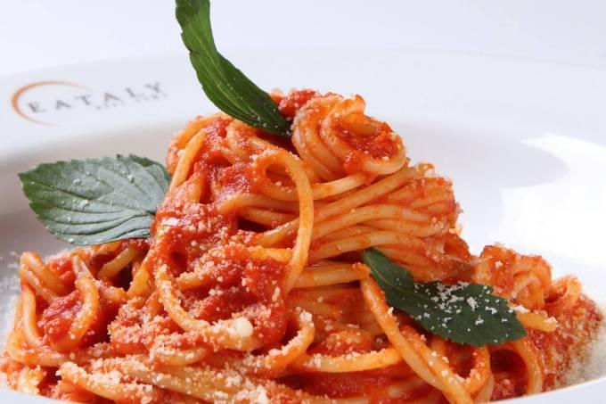 Espaguete com manjericão da Maccaroneria di Gragnano