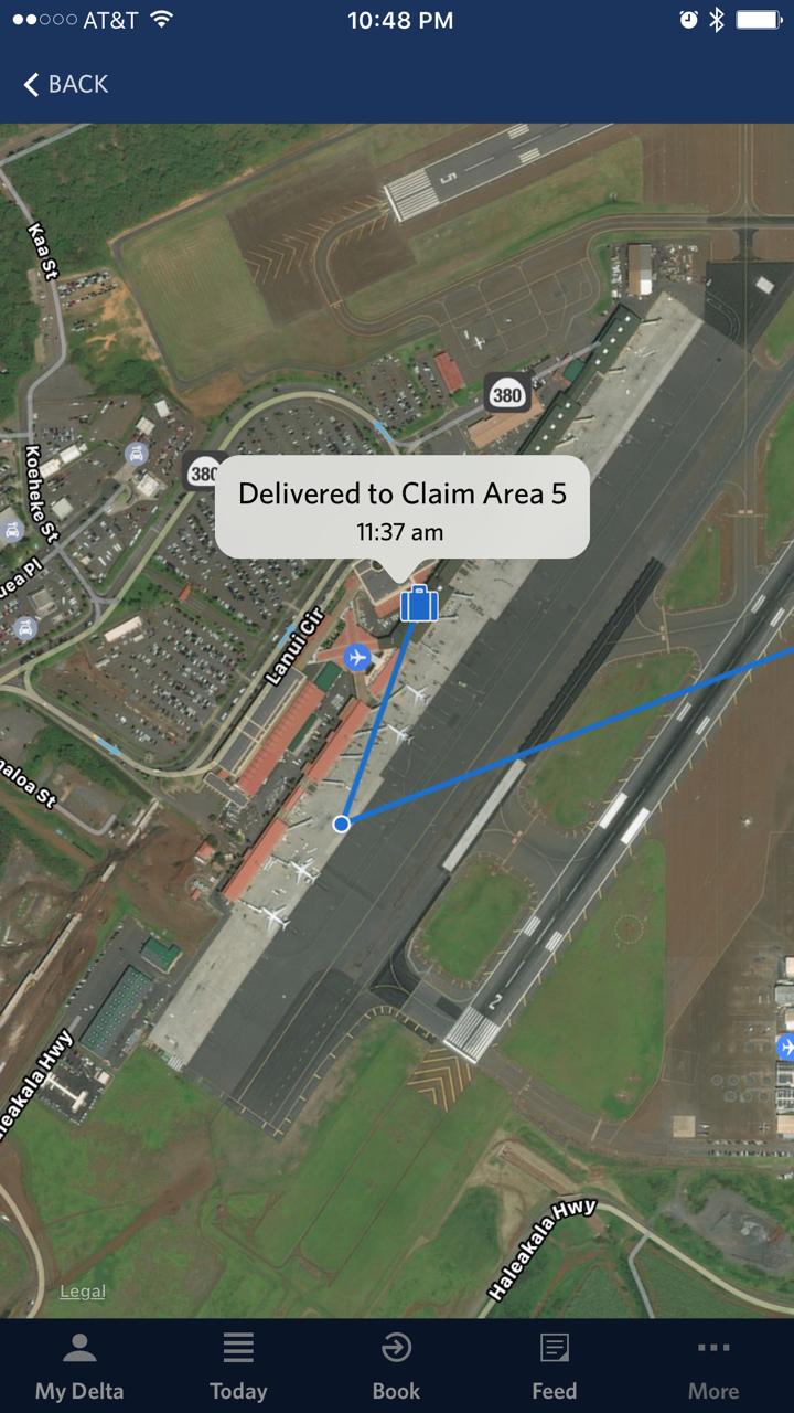 O app dá detalhes sobre onde está a bagagem de cada passageiro (imagem: divulgação/Delta)