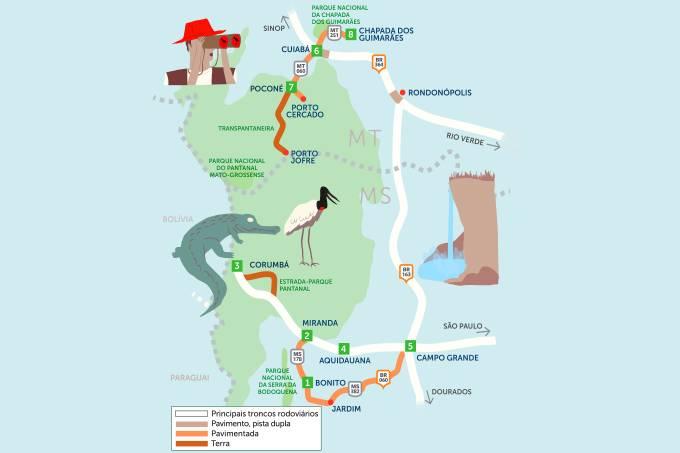 Mapa Roteiro Rodoviário Bonito e Pantanal com Chapada dos Guimarães