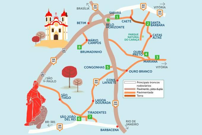 Mapa do Roteiro Rodoviário Cidades Históricas de Minas Gerais